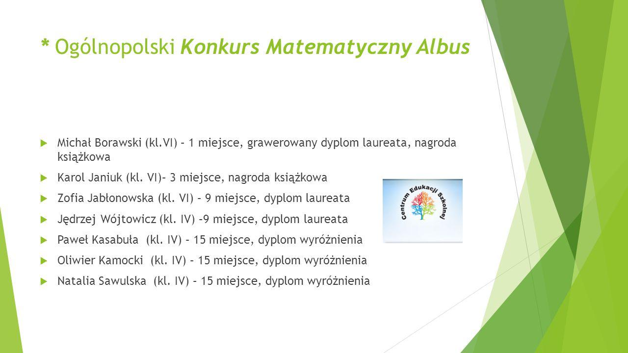 * Ogólnopolski Konkurs Matematyczny Albus  Michał Borawski (kl.VI) – 1 miejsce, grawerowany dyplom laureata, nagroda książkowa  Karol Janiuk (kl. VI