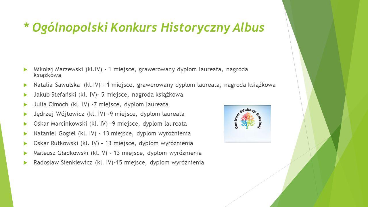 * Ogólnopolski Konkurs Historyczny Albus  Mikołaj Marzewski (kl.IV) – 1 miejsce, grawerowany dyplom laureata, nagroda książkowa  Natalia Sawulska (k