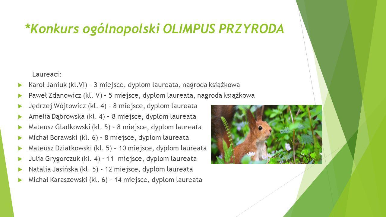 *Konkurs ogólnopolski OLIMPUS PRZYRODA Laureaci:  Karol Janiuk (kl.VI) – 3 miejsce, dyplom laureata, nagroda książkowa  Paweł Zdanowicz (kl. V) – 5