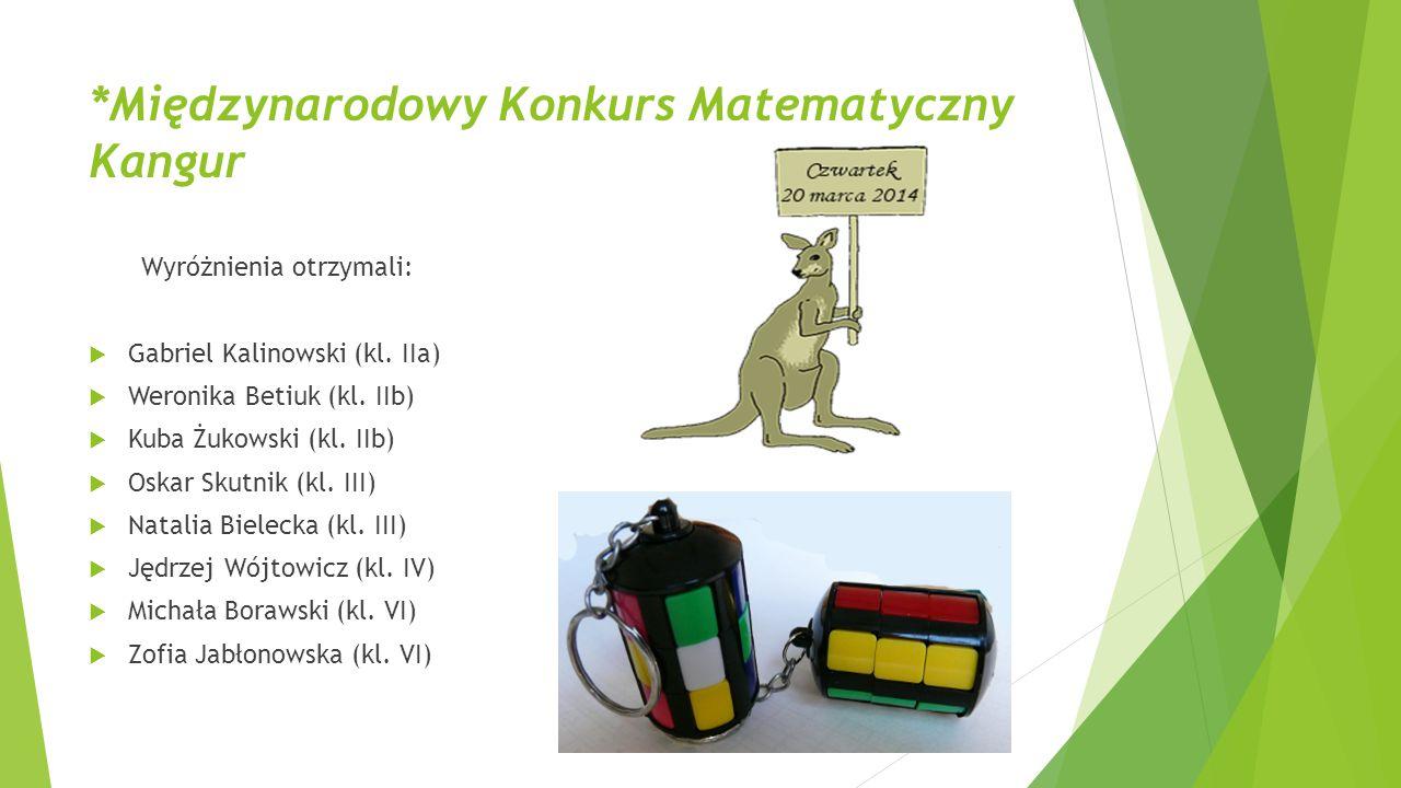 *Międzynarodowy Konkurs Matematyczny Kangur Wyróżnienia otrzymali:  Gabriel Kalinowski (kl. IIa)  Weronika Betiuk (kl. IIb)  Kuba Żukowski (kl. IIb