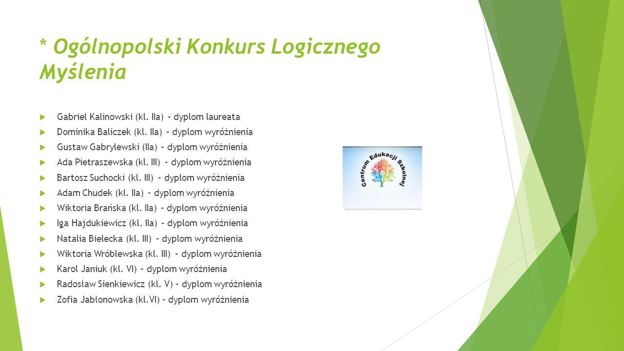 * Ogólnopolski Konkurs Logicznego Myślenia  Gabriel Kalinowski (kl. IIa) – dyplom laureata  Dominika Baliczek (kl. IIa) – dyplom wyróżnienia  Gusta