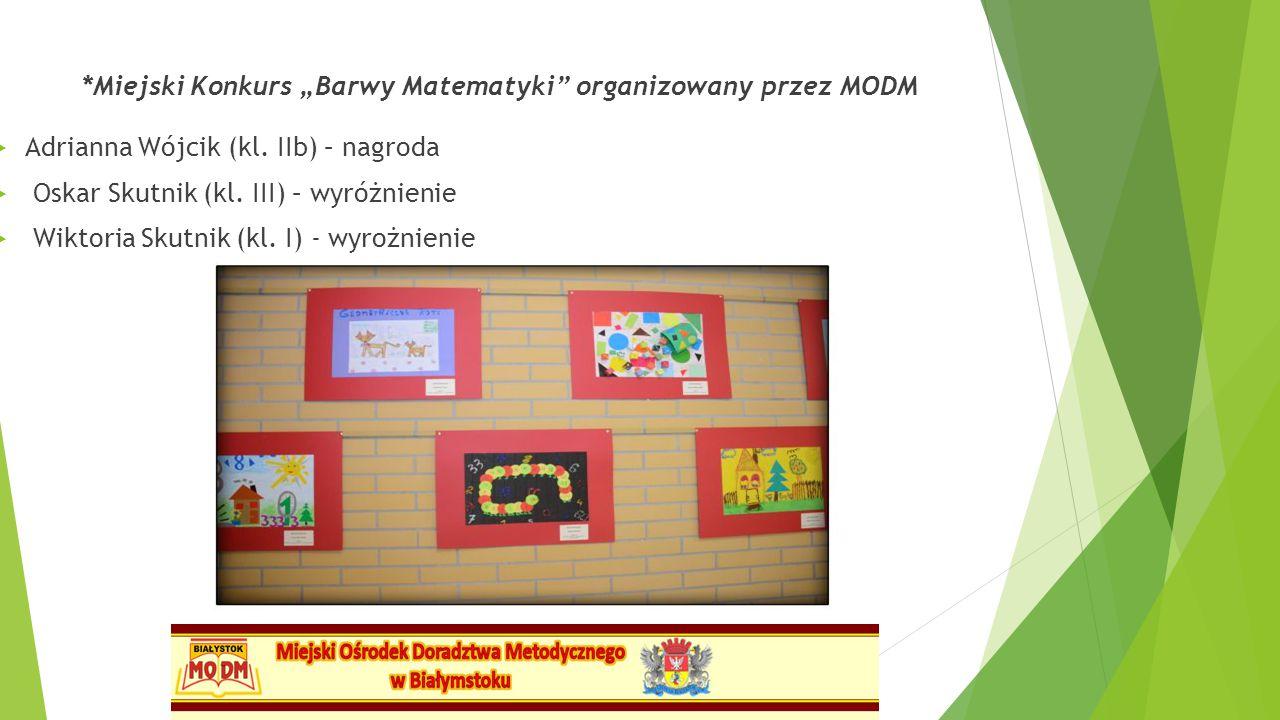 """*Miejski Konkurs """"Barwy Matematyki"""" organizowany przez MODM  Adrianna Wójcik (kl. IIb) – nagroda  Oskar Skutnik (kl. III) – wyróżnienie  Wiktoria S"""