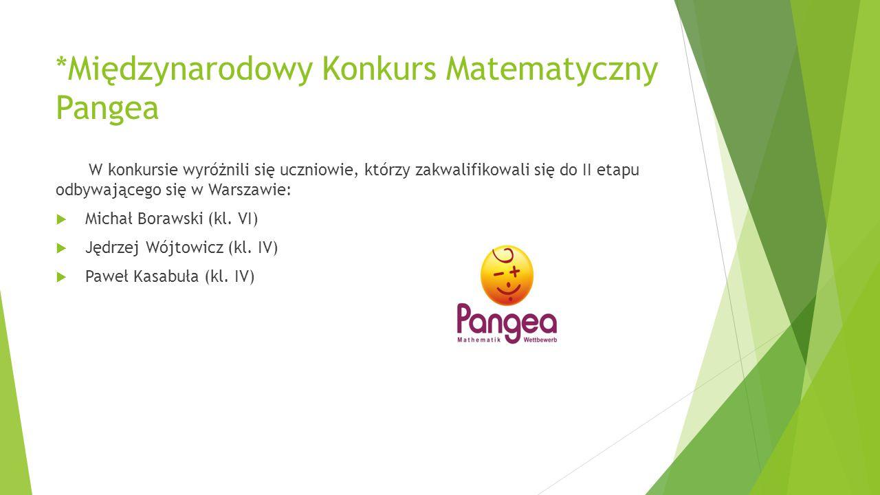 *Międzynarodowy Konkurs Matematyczny Pangea W konkursie wyróżnili się uczniowie, którzy zakwalifikowali się do II etapu odbywającego się w Warszawie: