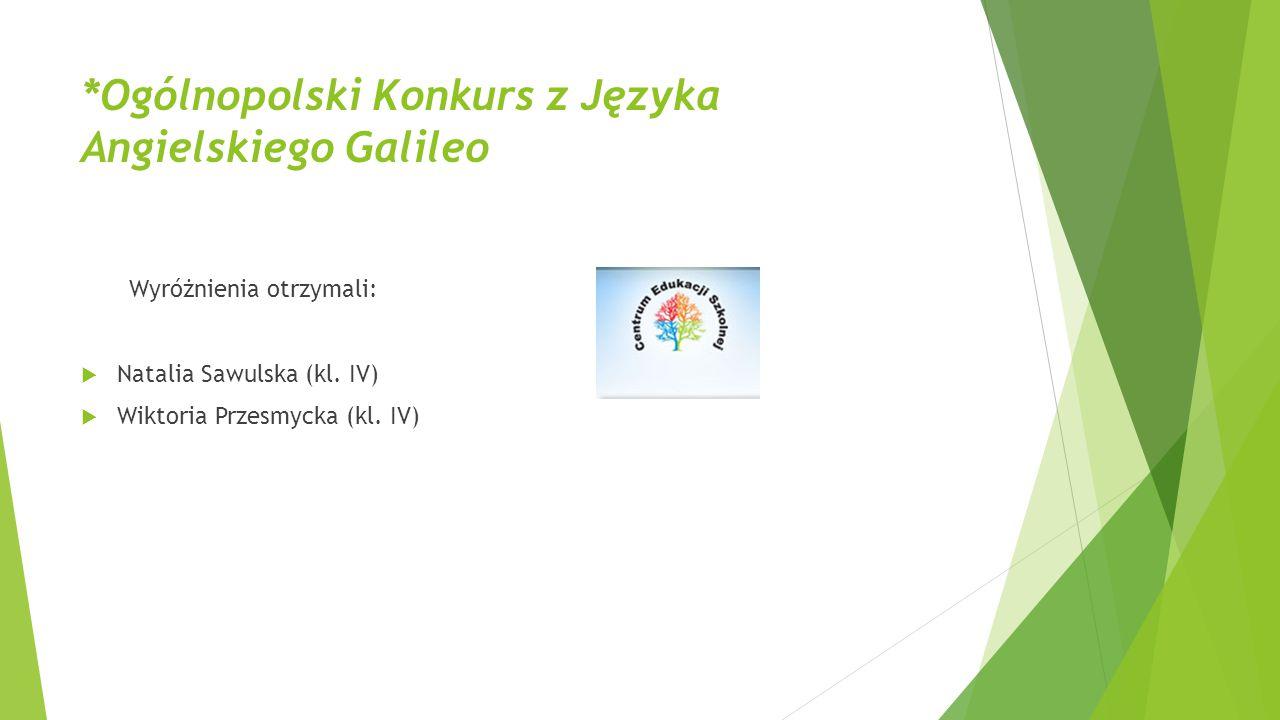 *Ogólnopolski Konkurs z Języka Angielskiego Galileo Wyróżnienia otrzymali:  Natalia Sawulska (kl. IV)  Wiktoria Przesmycka (kl. IV)