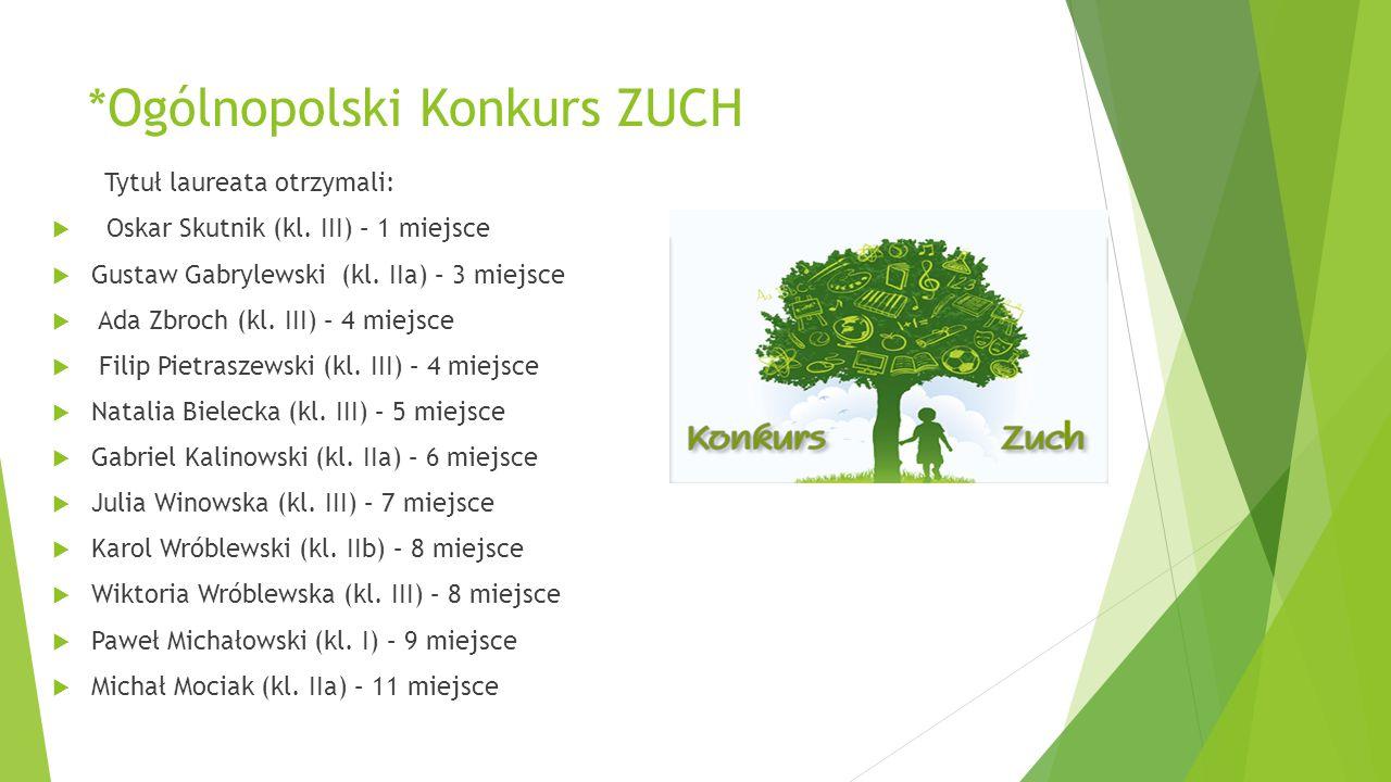 *Ogólnopolski Konkurs ZUCH Tytuł laureata otrzymali:  Oskar Skutnik (kl. III) – 1 miejsce  Gustaw Gabrylewski (kl. IIa) – 3 miejsce  Ada Zbroch (kl