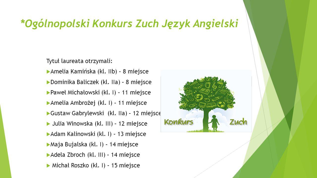 *Ogólnopolski Konkurs Zuch Język Angielski Tytuł laureata otrzymali:  Amelia Kamińska (kl. IIb) – 8 miejsce  Dominika Baliczek (kl. IIa) – 8 miejsce