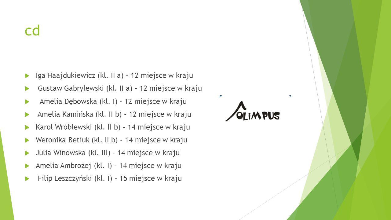 cd  Iga Haajdukiewicz (kl. II a) – 12 miejsce w kraju  Gustaw Gabrylewski (kl. II a) – 12 miejsce w kraju  Amelia Dębowska (kl. I) – 12 miejsce w k
