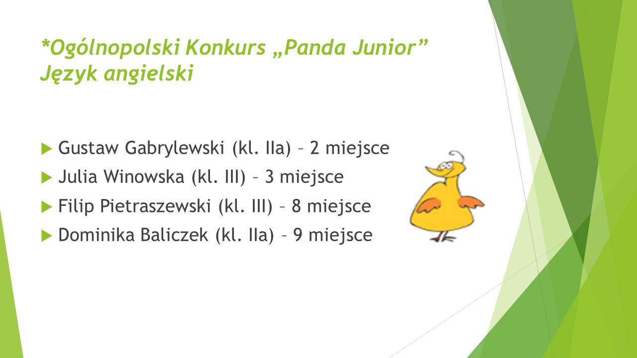 """*Ogólnopolski Konkurs """"Panda Junior"""" Język angielski  Gustaw Gabrylewski (kl. IIa) – 2 miejsce  Julia Winowska (kl. III) – 3 miejsce  Filip Pietras"""