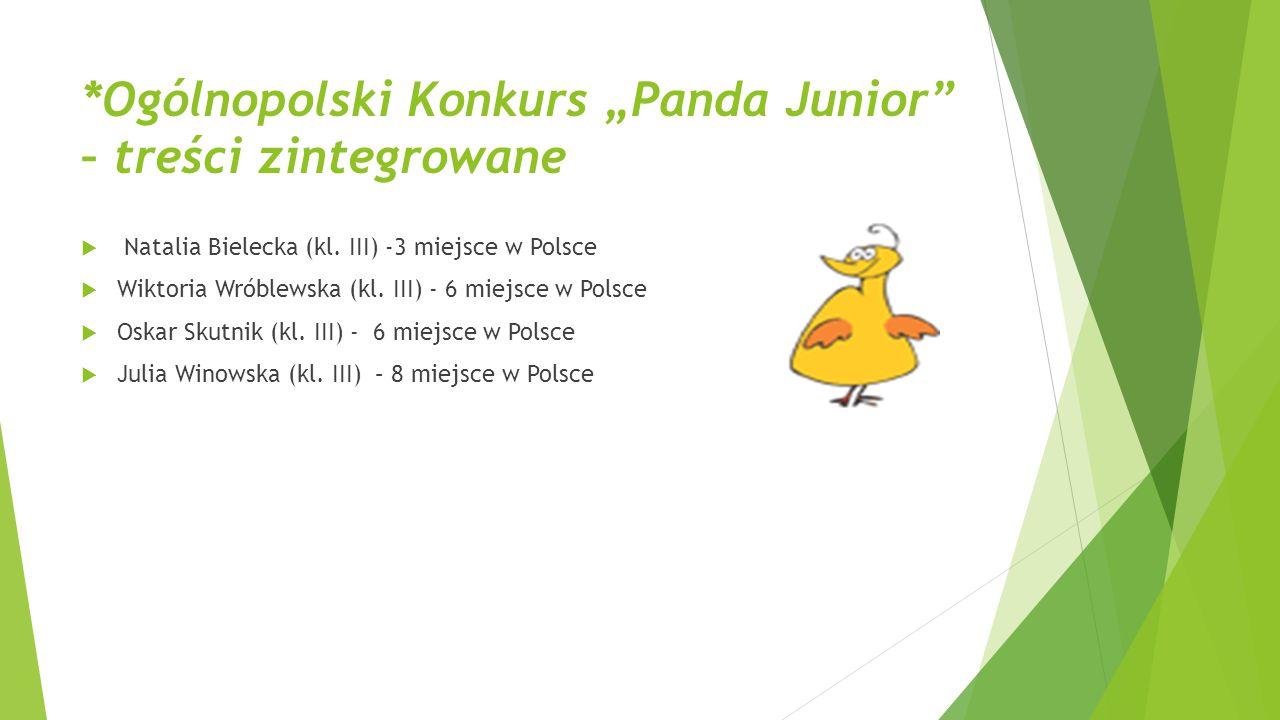 """*Ogólnopolski Konkurs """"Panda Junior"""" – treści zintegrowane  Natalia Bielecka (kl. III) -3 miejsce w Polsce  Wiktoria Wróblewska (kl. III) - 6 miejsc"""