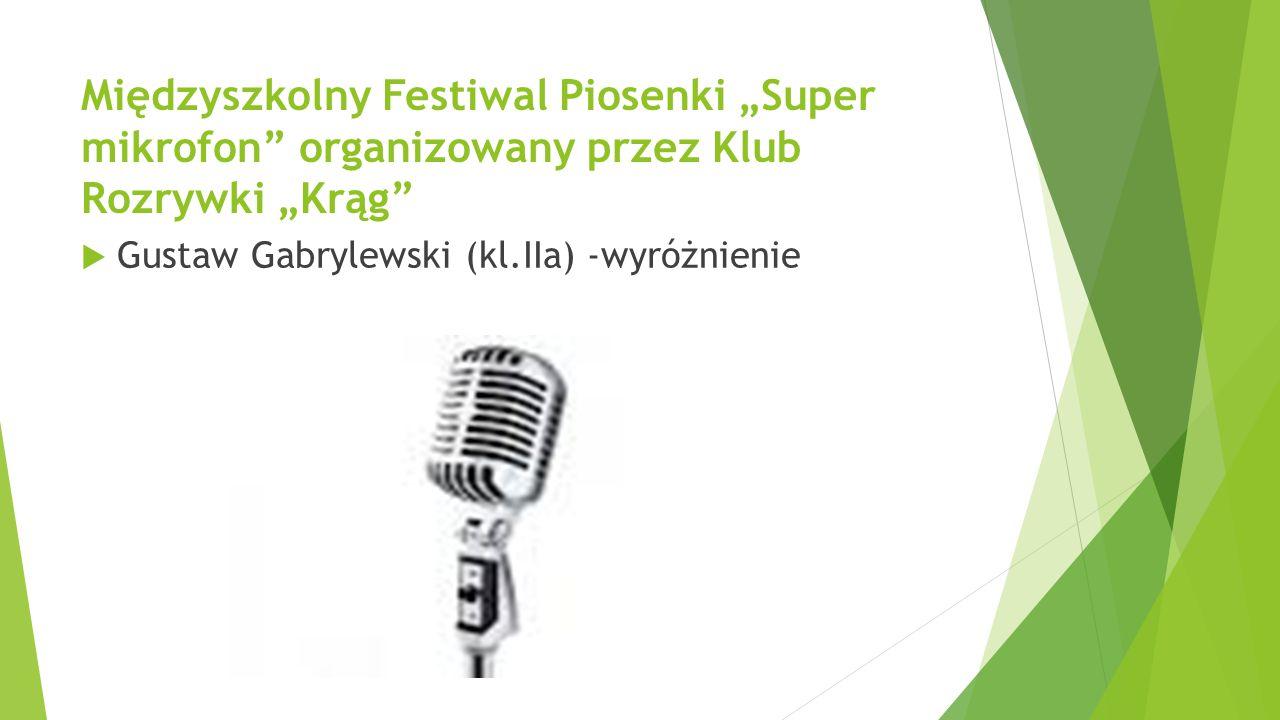 """Międzyszkolny Festiwal Piosenki """"Super mikrofon"""" organizowany przez Klub Rozrywki """"Krąg""""  Gustaw Gabrylewski (kl.IIa) -wyróżnienie"""