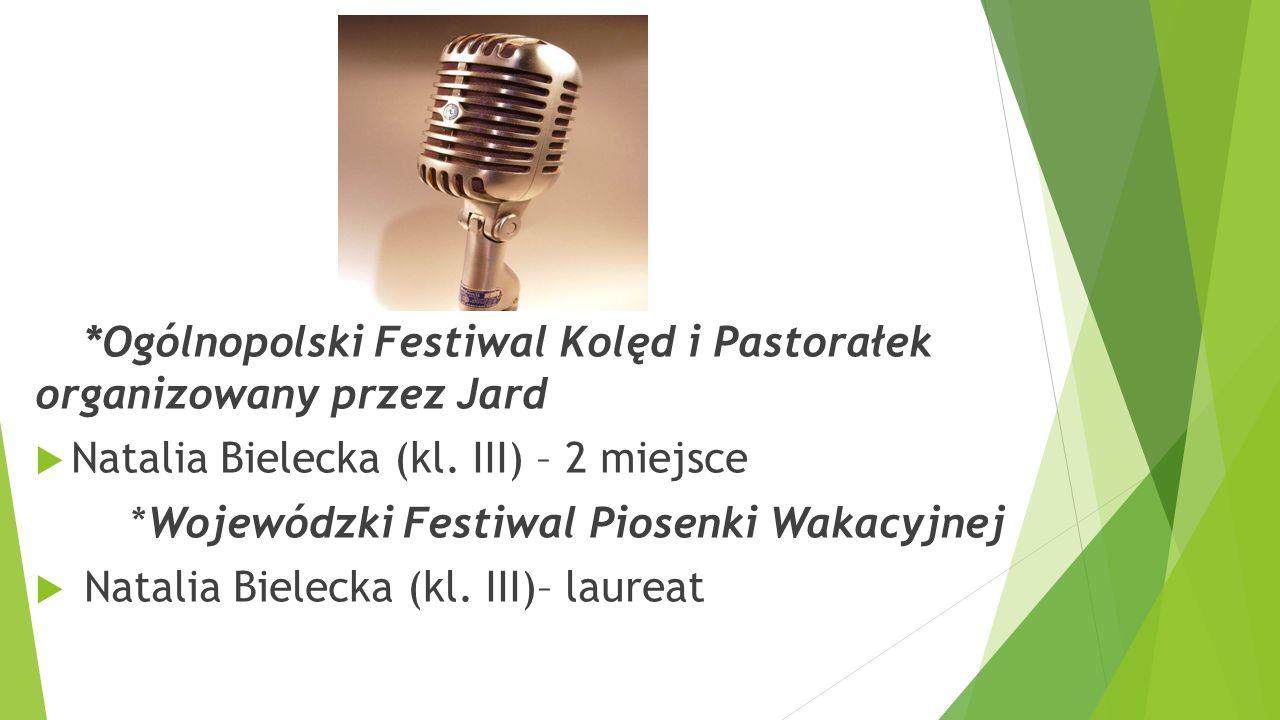 *Ogólnopolski Festiwal Kolęd i Pastorałek organizowany przez Jard  Natalia Bielecka (kl. III) – 2 miejsce *Wojewódzki Festiwal Piosenki Wakacyjnej 