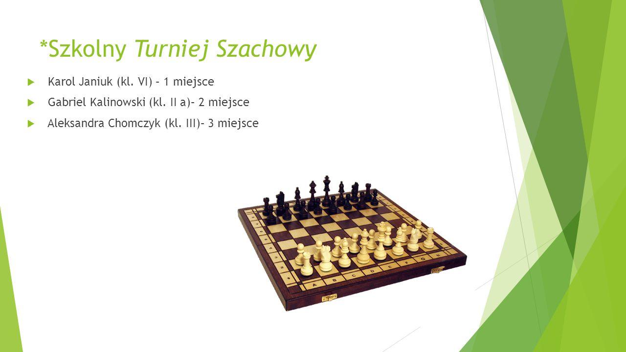 *Szkolny Turniej Szachowy  Karol Janiuk (kl. VI) – 1 miejsce  Gabriel Kalinowski (kl. II a)– 2 miejsce  Aleksandra Chomczyk (kl. III)– 3 miejsce