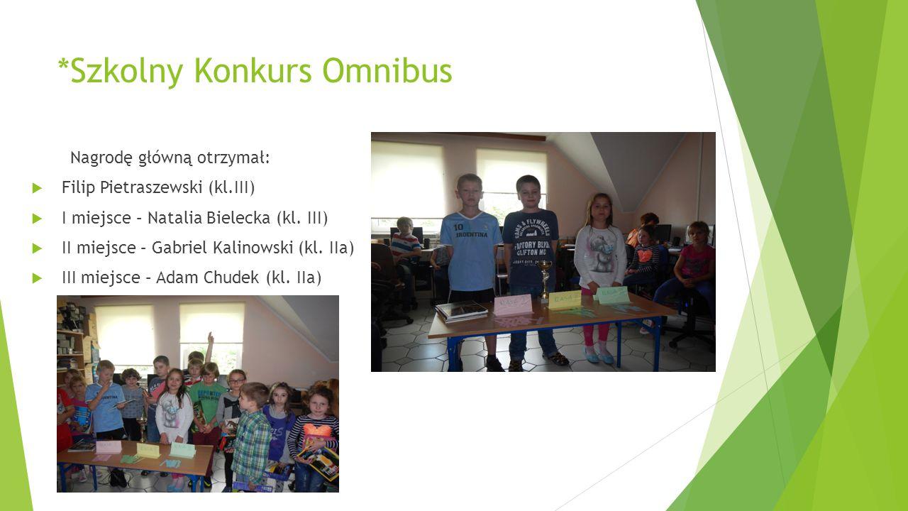 *Szkolny Konkurs Omnibus Nagrodę główną otrzymał:  Filip Pietraszewski (kl.III)  I miejsce – Natalia Bielecka (kl. III)  II miejsce – Gabriel Kalin