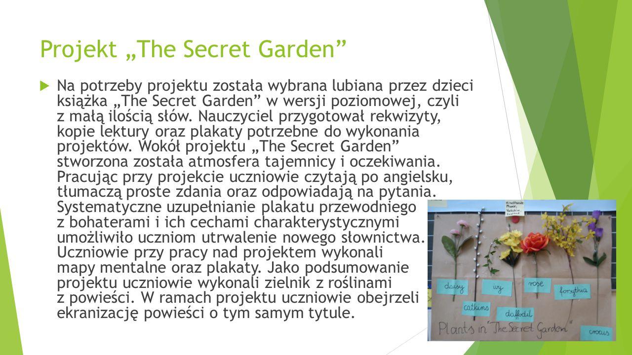 """Projekt """"The Secret Garden""""  Na potrzeby projektu została wybrana lubiana przez dzieci książka """"The Secret Garden"""" w wersji poziomowej, czyli z małą"""