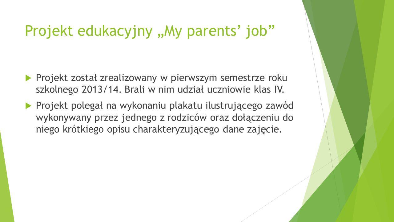 """Projekt edukacyjny """"My parents' job""""  Projekt został zrealizowany w pierwszym semestrze roku szkolnego 2013/14. Brali w nim udział uczniowie klas IV."""