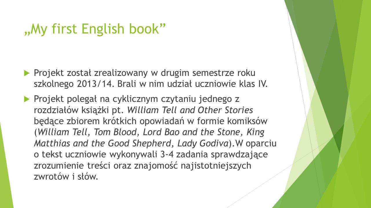 """""""My first English book""""  Projekt został zrealizowany w drugim semestrze roku szkolnego 2013/14. Brali w nim udział uczniowie klas IV.  Projekt poleg"""