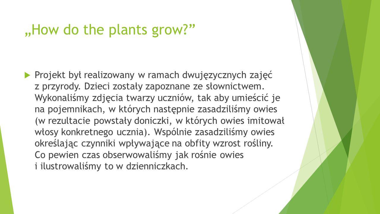 """""""How do the plants grow?""""  Projekt był realizowany w ramach dwujęzycznych zajęć z przyrody. Dzieci zostały zapoznane ze słownictwem. Wykonaliśmy zdję"""