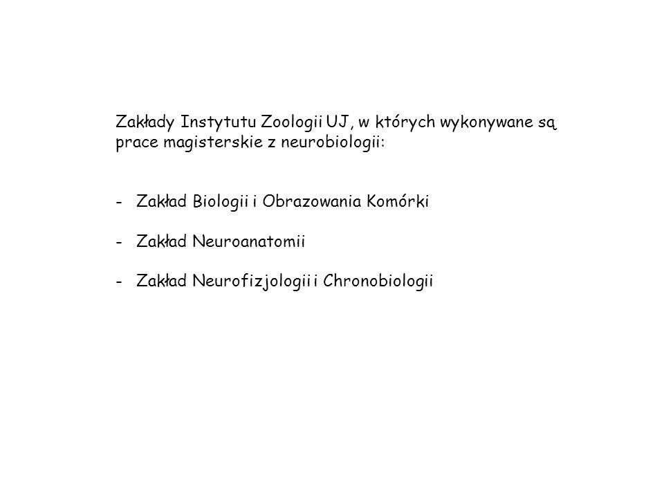 Zakłady Instytutu Zoologii UJ, w których wykonywane są prace magisterskie z neurobiologii: -Zakład Biologii i Obrazowania Komórki -Zakład Neuroanatomii -Zakład Neurofizjologii i Chronobiologii