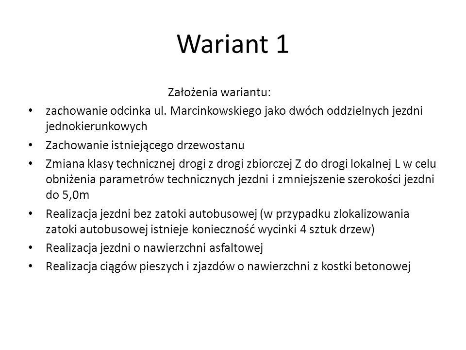 Wariant 1 Założenia wariantu: zachowanie odcinka ul. Marcinkowskiego jako dwóch oddzielnych jezdni jednokierunkowych Zachowanie istniejącego drzewosta
