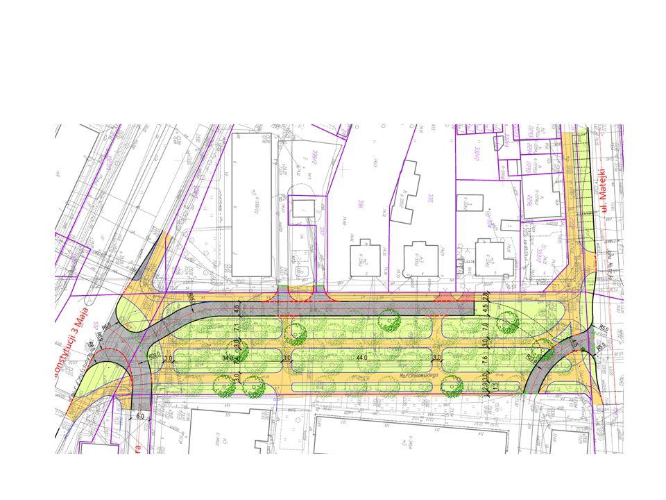 Wariant 3 Założenia wariantu: zamknięcie odcinka ulicy Marcinkowskiego dla ruchu samochodowego, realizacja zagospodarowania jako terenu rekreacji (skwer), zachowanie dojazdu do ul.