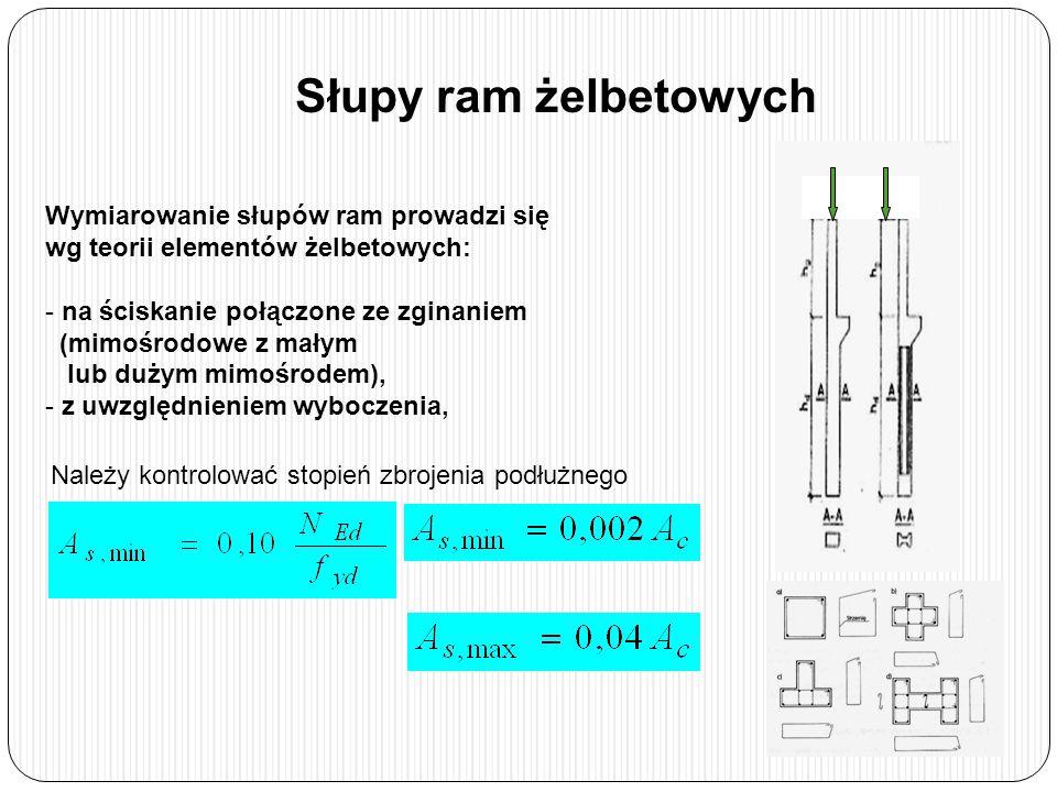 Słupy ram żelbetowych Należy kontrolować stopień zbrojenia podłużnego Wymiarowanie słupów ram prowadzi się wg teorii elementów żelbetowych: - na ściskanie połączone ze zginaniem (mimośrodowe z małym lub dużym mimośrodem), - z uwzględnieniem wyboczenia,