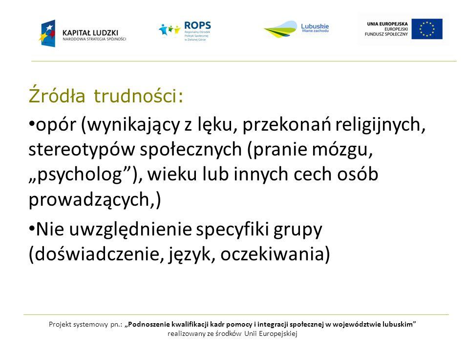 """Projekt systemowy pn.: """"Podnoszenie kwalifikacji kadr pomocy i integracji społecznej w województwie lubuskim realizowany ze środków Unii Europejskiej Jak pracować z seniorami."""