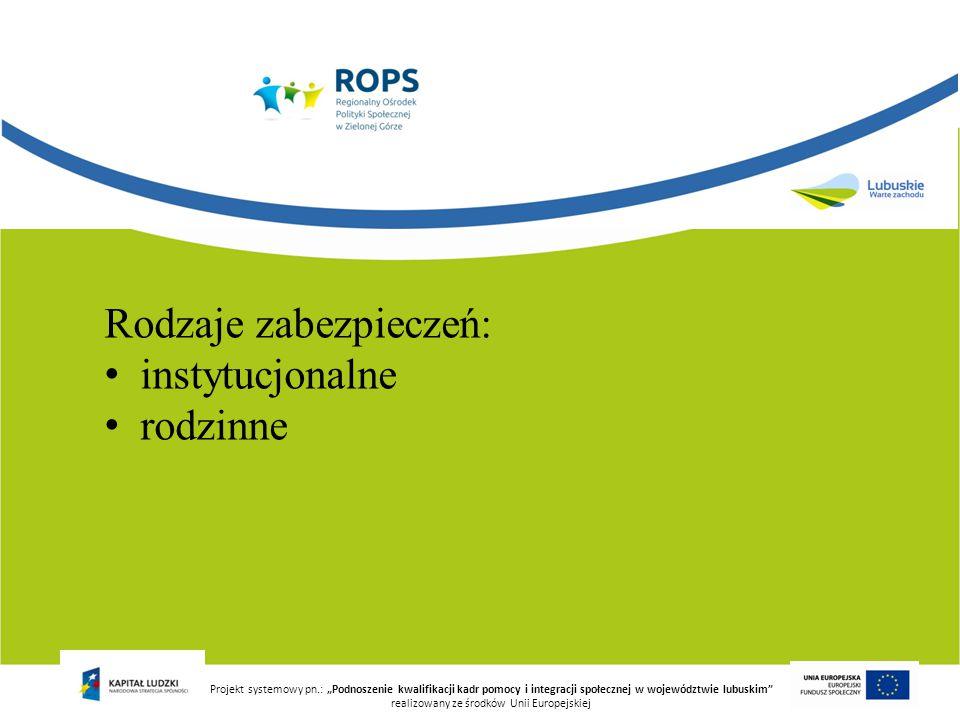 """Rodzaje zabezpieczeń: instytucjonalne rodzinne Projekt systemowy pn.: """"Podnoszenie kwalifikacji kadr pomocy i integracji społecznej w województwie lub"""