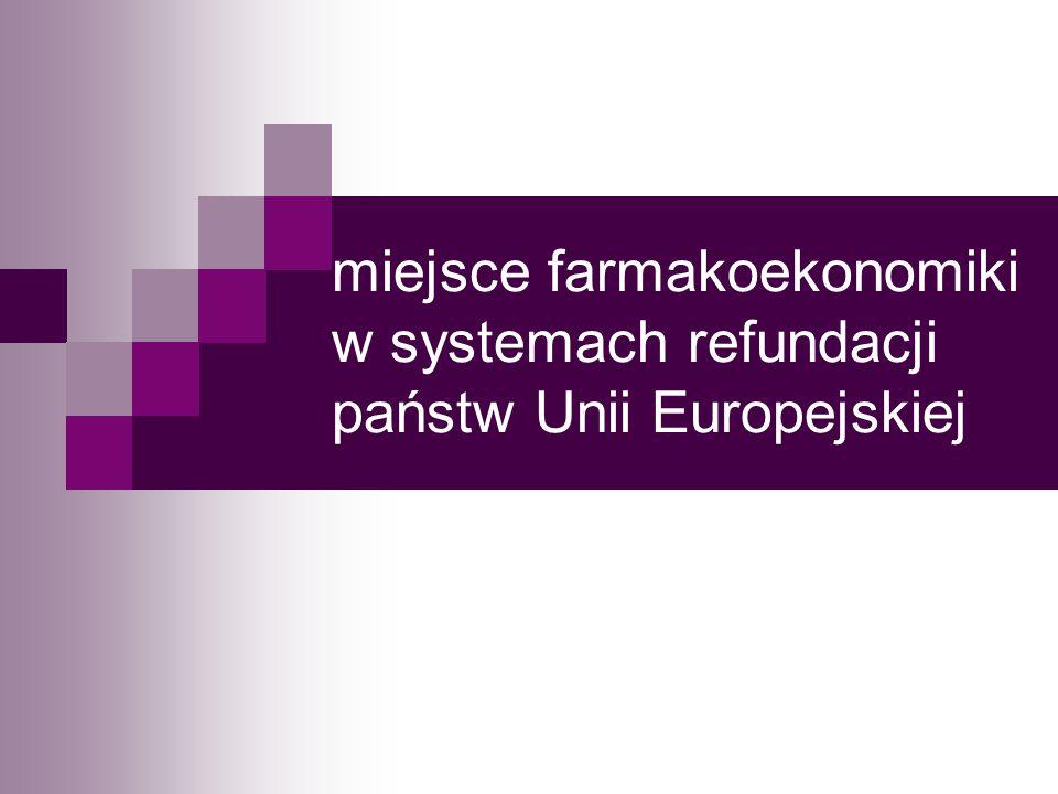 miejsce farmakoekonomiki w systemach refundacji państw Unii Europejskiej