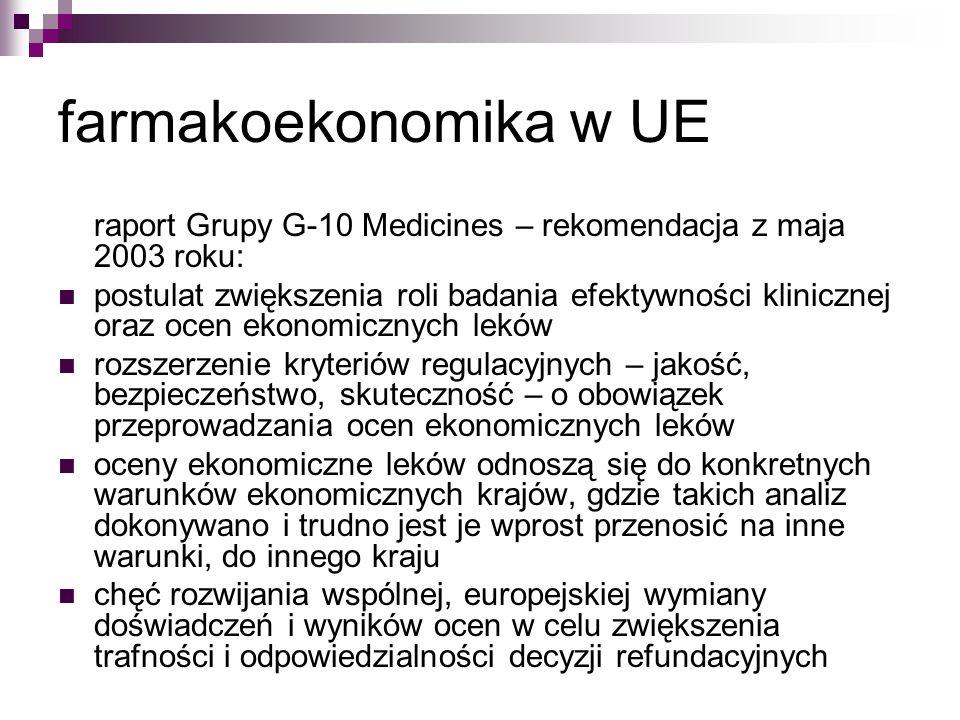 farmakoekonomika w UE raport Grupy G-10 Medicines – rekomendacja z maja 2003 roku: postulat zwiększenia roli badania efektywności klinicznej oraz ocen ekonomicznych leków rozszerzenie kryteriów regulacyjnych – jakość, bezpieczeństwo, skuteczność – o obowiązek przeprowadzania ocen ekonomicznych leków oceny ekonomiczne leków odnoszą się do konkretnych warunków ekonomicznych krajów, gdzie takich analiz dokonywano i trudno jest je wprost przenosić na inne warunki, do innego kraju chęć rozwijania wspólnej, europejskiej wymiany doświadczeń i wyników ocen w celu zwiększenia trafności i odpowiedzialności decyzji refundacyjnych
