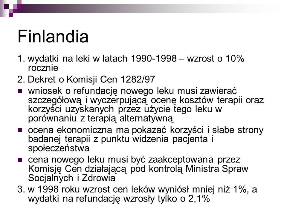 Finlandia 1. wydatki na leki w latach 1990-1998 – wzrost o 10% rocznie 2. Dekret o Komisji Cen 1282/97 wniosek o refundację nowego leku musi zawierać