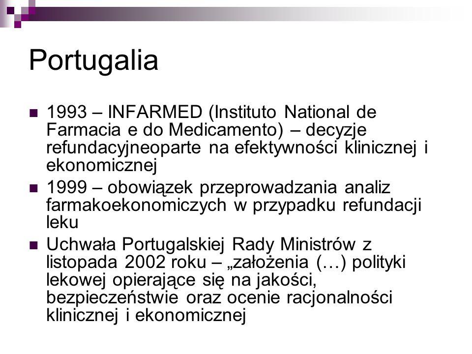 """Portugalia 1993 – INFARMED (Instituto National de Farmacia e do Medicamento) – decyzje refundacyjneoparte na efektywności klinicznej i ekonomicznej 1999 – obowiązek przeprowadzania analiz farmakoekonomiczych w przypadku refundacji leku Uchwała Portugalskiej Rady Ministrów z listopada 2002 roku – """"założenia (…) polityki lekowej opierające się na jakości, bezpieczeństwie oraz ocenie racjonalności klinicznej i ekonomicznej"""