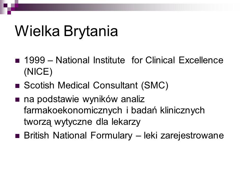 Wielka Brytania 1999 – National Institute for Clinical Excellence (NICE) Scotish Medical Consultant (SMC) na podstawie wyników analiz farmakoekonomicznych i badań klinicznych tworzą wytyczne dla lekarzy British National Formulary – leki zarejestrowane