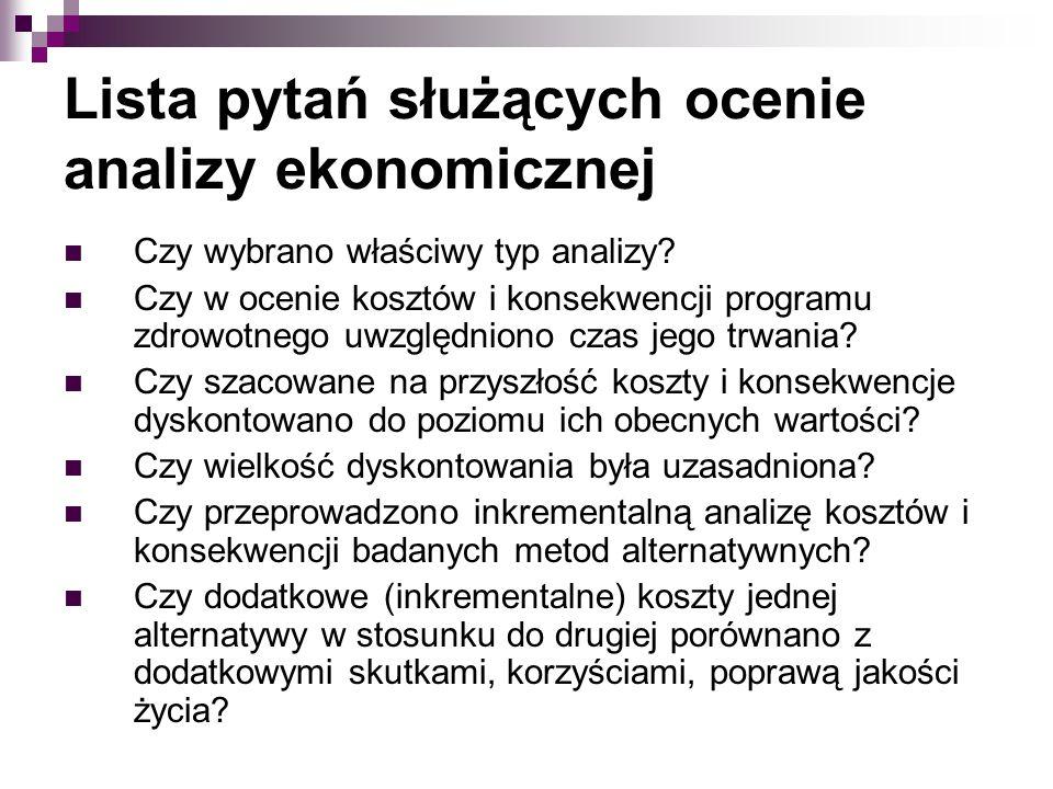 Lista pytań służących ocenie analizy ekonomicznej Czy wybrano właściwy typ analizy? Czy w ocenie kosztów i konsekwencji programu zdrowotnego uwzględni