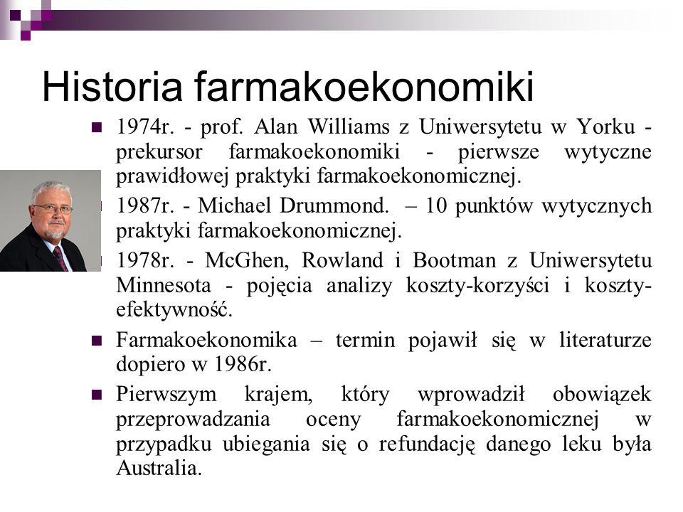 Historia farmakoekonomiki 1974r. - prof. Alan Williams z Uniwersytetu w Yorku - prekursor farmakoekonomiki - pierwsze wytyczne prawidłowej praktyki fa