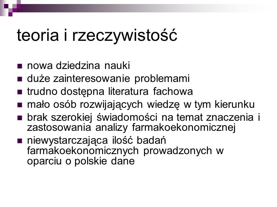 teoria i rzeczywistość nowa dziedzina nauki duże zainteresowanie problemami trudno dostępna literatura fachowa mało osób rozwijających wiedzę w tym kierunku brak szerokiej świadomości na temat znaczenia i zastosowania analizy farmakoekonomicznej niewystarczająca ilość badań farmakoekonomicznych prowadzonych w oparciu o polskie dane