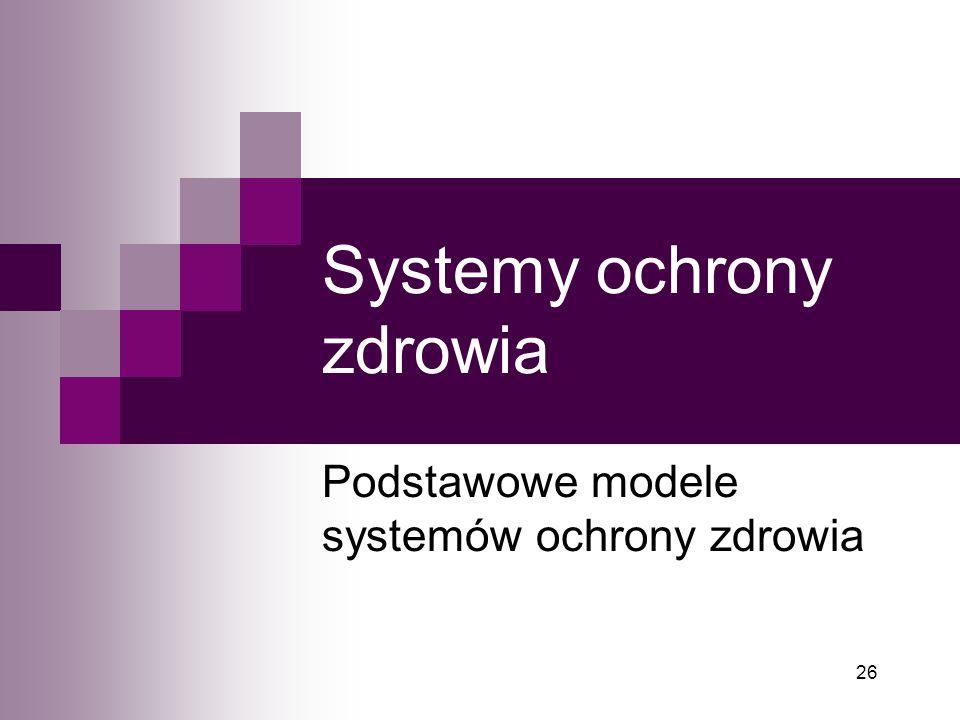 26 Systemy ochrony zdrowia Podstawowe modele systemów ochrony zdrowia
