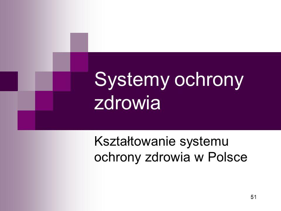 51 Systemy ochrony zdrowia Kształtowanie systemu ochrony zdrowia w Polsce