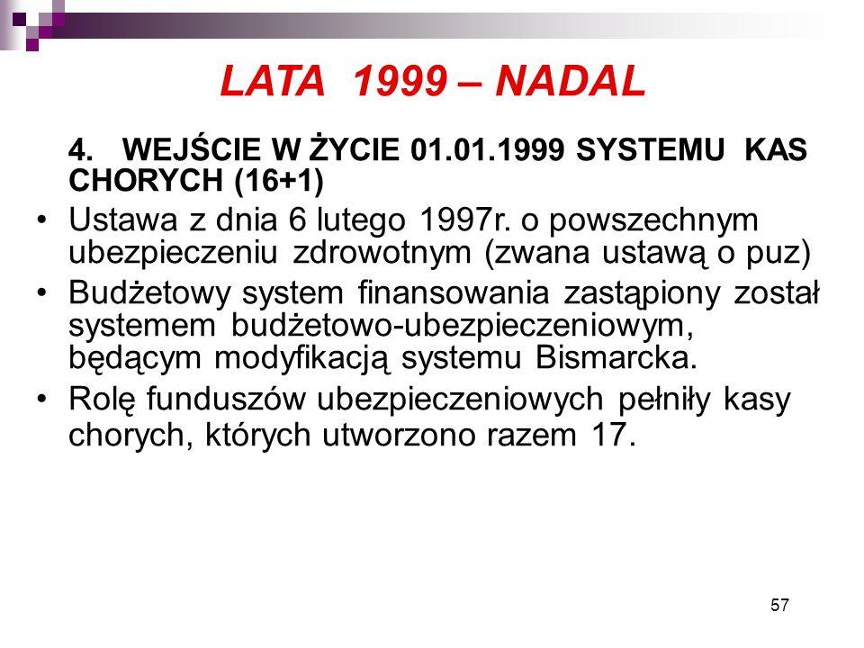 57 LATA 1999 – NADAL 4.WEJŚCIE W ŻYCIE 01.01.1999 SYSTEMU KAS CHORYCH (16+1) Ustawa z dnia 6 lutego 1997r. o powszechnym ubezpieczeniu zdrowotnym (zwa