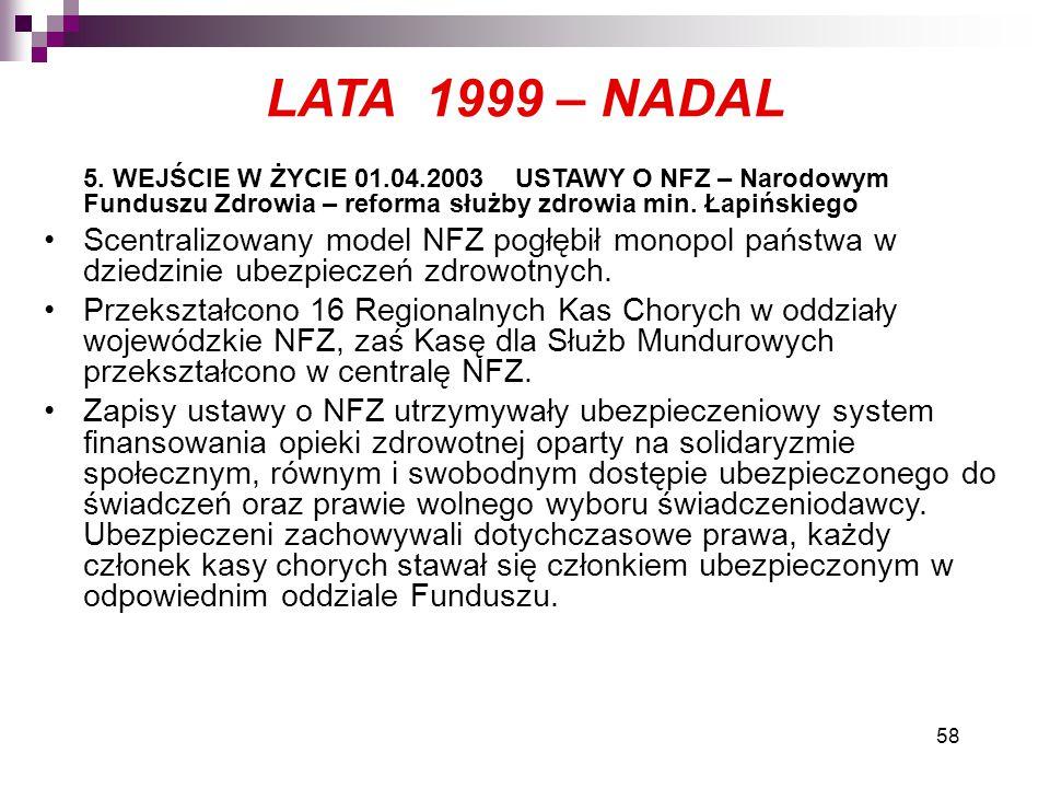 58 LATA 1999 – NADAL 5. WEJŚCIE W ŻYCIE 01.04.2003 USTAWY O NFZ – Narodowym Funduszu Zdrowia – reforma służby zdrowia min. Łapińskiego Scentralizowany