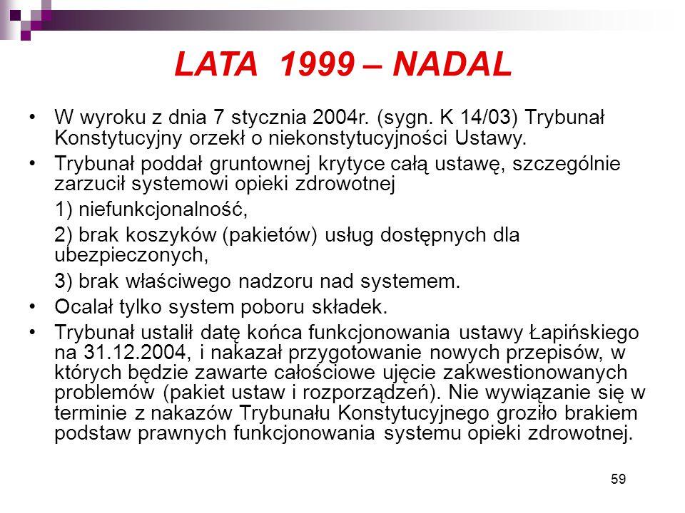 59 LATA 1999 – NADAL W wyroku z dnia 7 stycznia 2004r. (sygn. K 14/03) Trybunał Konstytucyjny orzekł o niekonstytucyjności Ustawy. Trybunał poddał gru