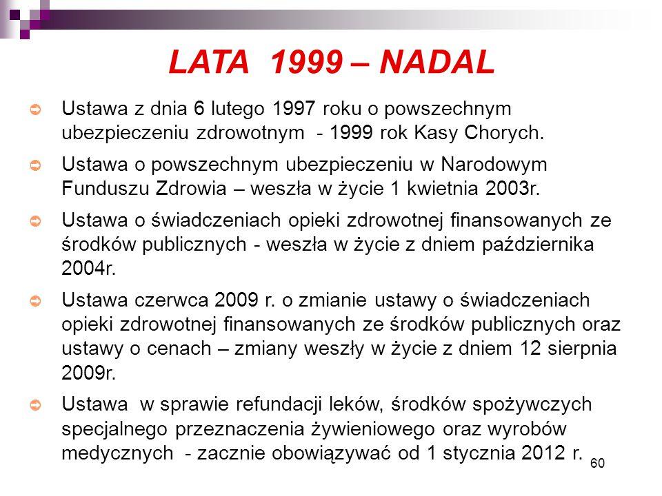 60 ➲ Ustawa z dnia 6 lutego 1997 roku o powszechnym ubezpieczeniu zdrowotnym - 1999 rok Kasy Chorych. ➲ Ustawa o powszechnym ubezpieczeniu w Narodowym