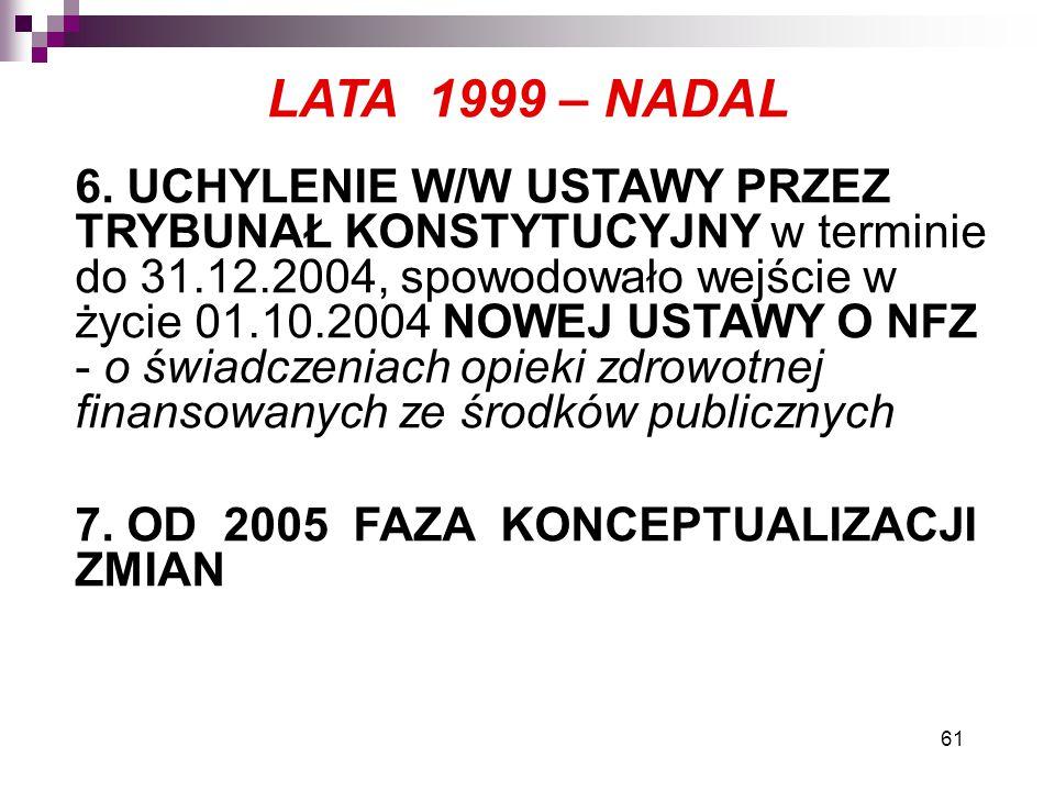 61 LATA 1999 – NADAL 6. UCHYLENIE W/W USTAWY PRZEZ TRYBUNAŁ KONSTYTUCYJNY w terminie do 31.12.2004, spowodowało wejście w życie 01.10.2004 NOWEJ USTAW