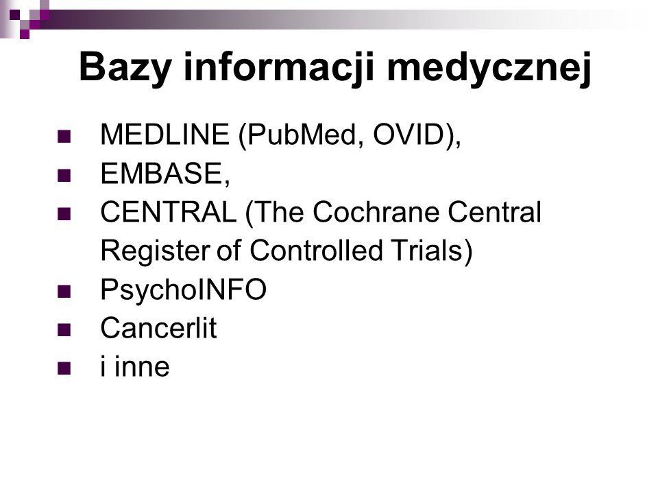 MEDLINE (PubMed, OVID), EMBASE, CENTRAL (The Cochrane Central Register of Controlled Trials) PsychoINFO Cancerlit i inne Bazy informacji medycznej