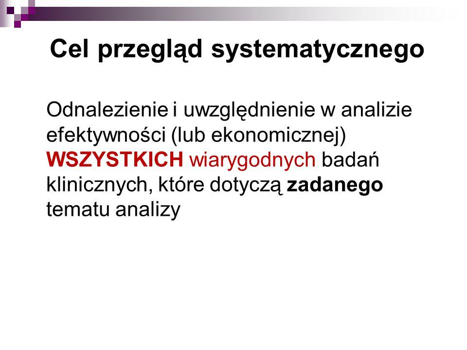Odnalezienie i uwzględnienie w analizie efektywności (lub ekonomicznej) WSZYSTKICH wiarygodnych badań klinicznych, które dotyczą zadanego tematu analizy Cel przegląd systematycznego