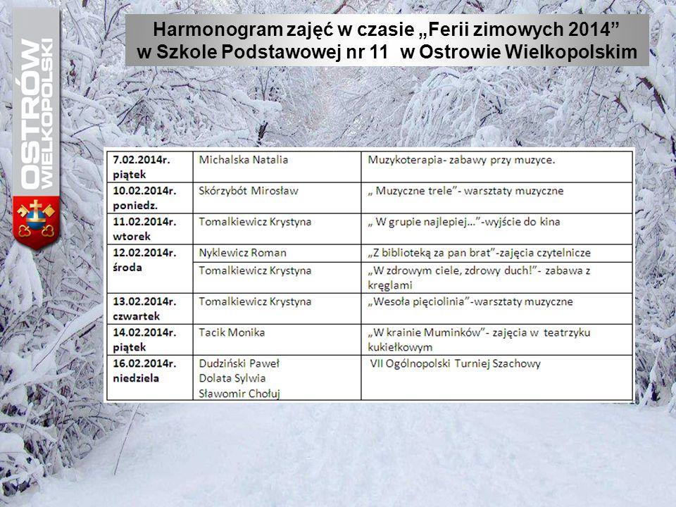 """Harmonogram zajęć w czasie """"Ferii zimowych 2014"""" w Szkole Podstawowej nr 11 w Ostrowie Wielkopolskim"""