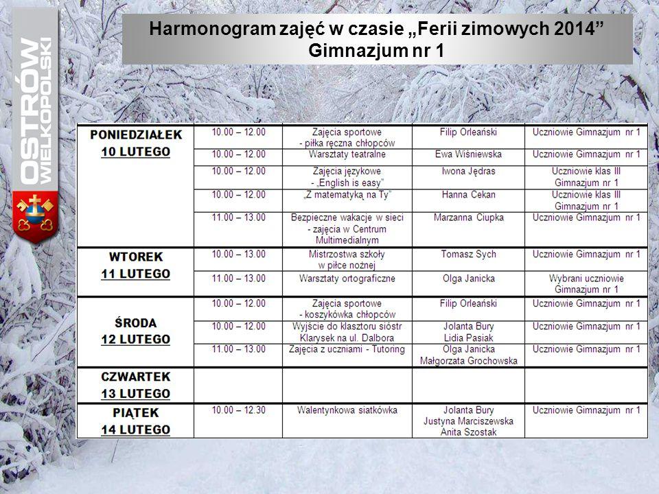 """Harmonogram zajęć w czasie """"Ferii zimowych 2014"""" Gimnazjum nr 1"""