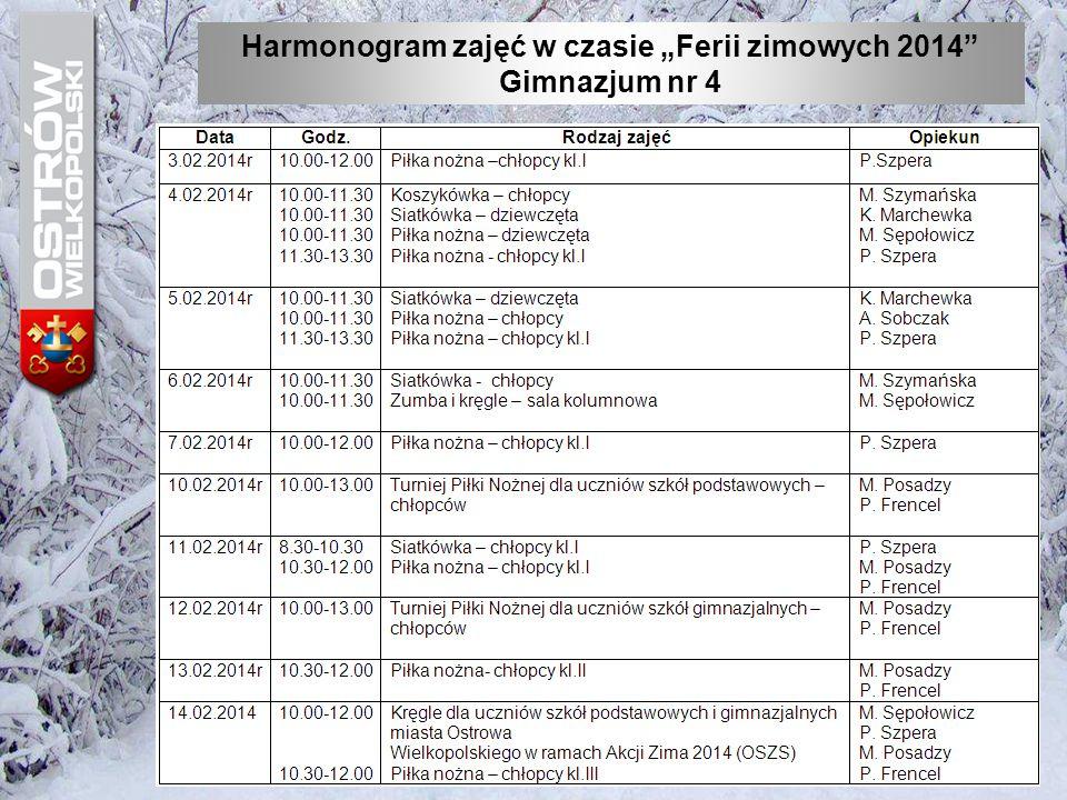 """Harmonogram zajęć w czasie """"Ferii zimowych 2014"""" Gimnazjum nr 4"""