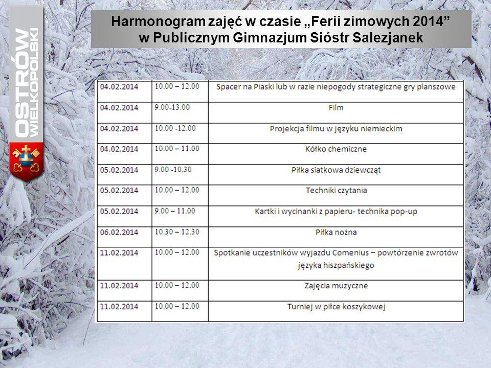 """Harmonogram zajęć w czasie """"Ferii zimowych 2014"""" w Publicznym Gimnazjum Sióstr Salezjanek"""