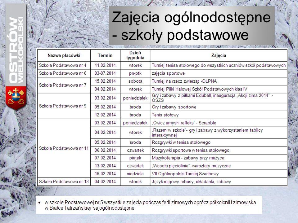 """Harmonogram zajęć w czasie """"Ferii zimowych 2014 w Szkole Podstawowej nr 7 w Ostrowie Wielkopolskim"""