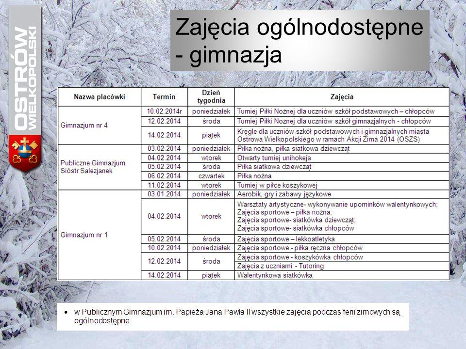"""Harmonogram zajęć w czasie """"Ferii zimowych 2014 Gimnazjum nr 1"""